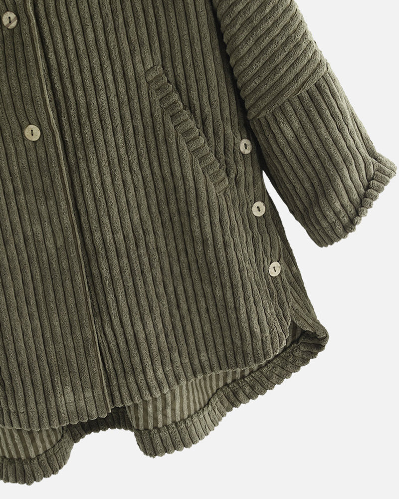 Solid Long Sleeve Hoodies Button-up Corduroy Cotton Coats