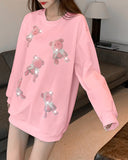 Glitter Bear Long Sleeve Loose T-shirts