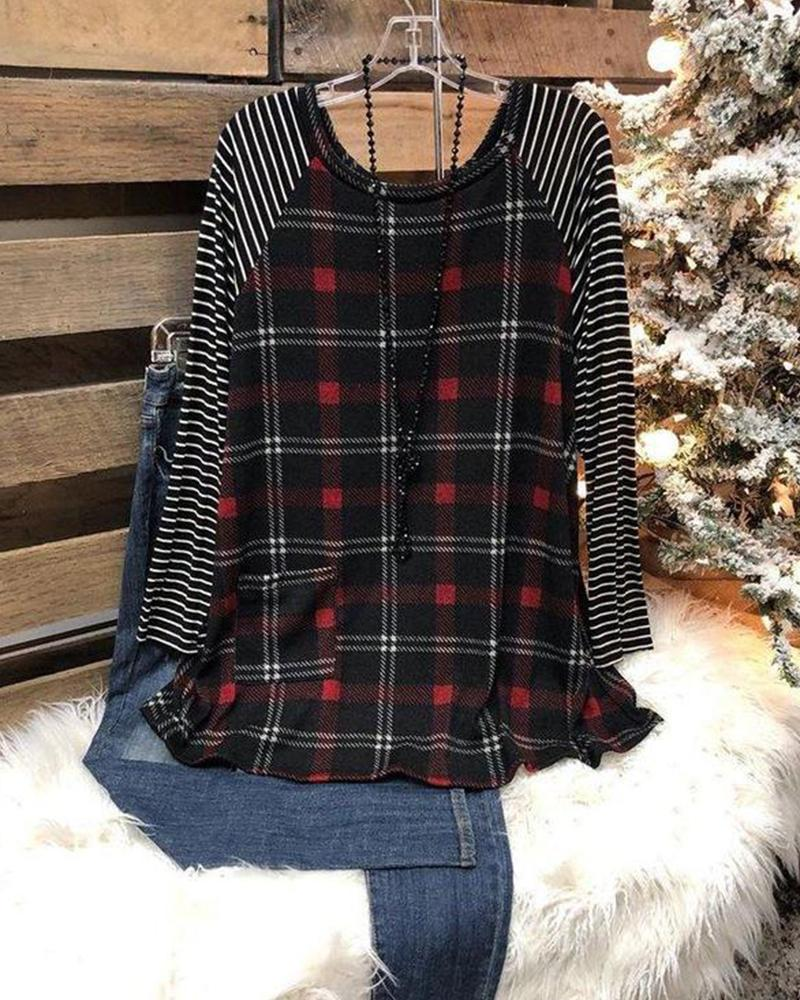 Plaid Long Sleeve Loose T-shirts