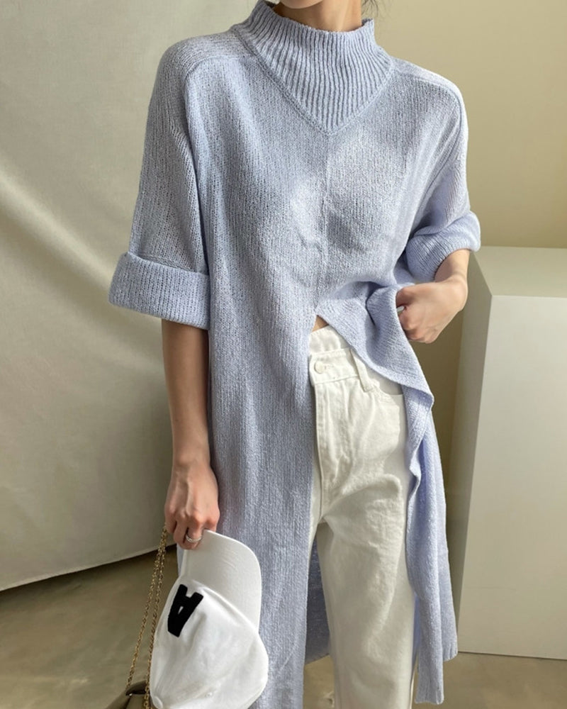 Solid Color Half Sleeve Slit Knitted Sweater