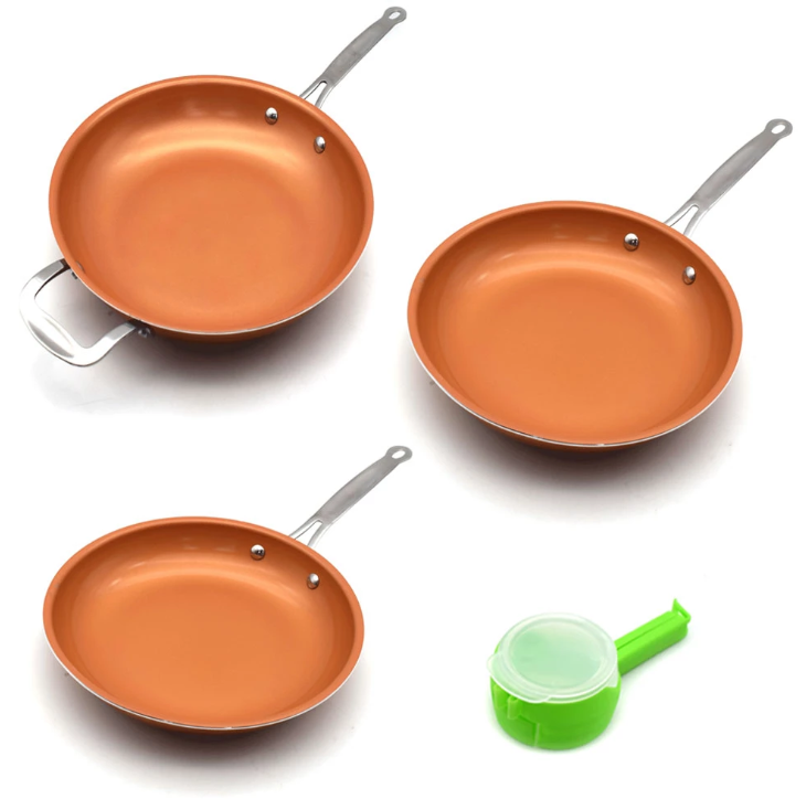 Copper Healthy Magic Pan - Set of 3 Pans