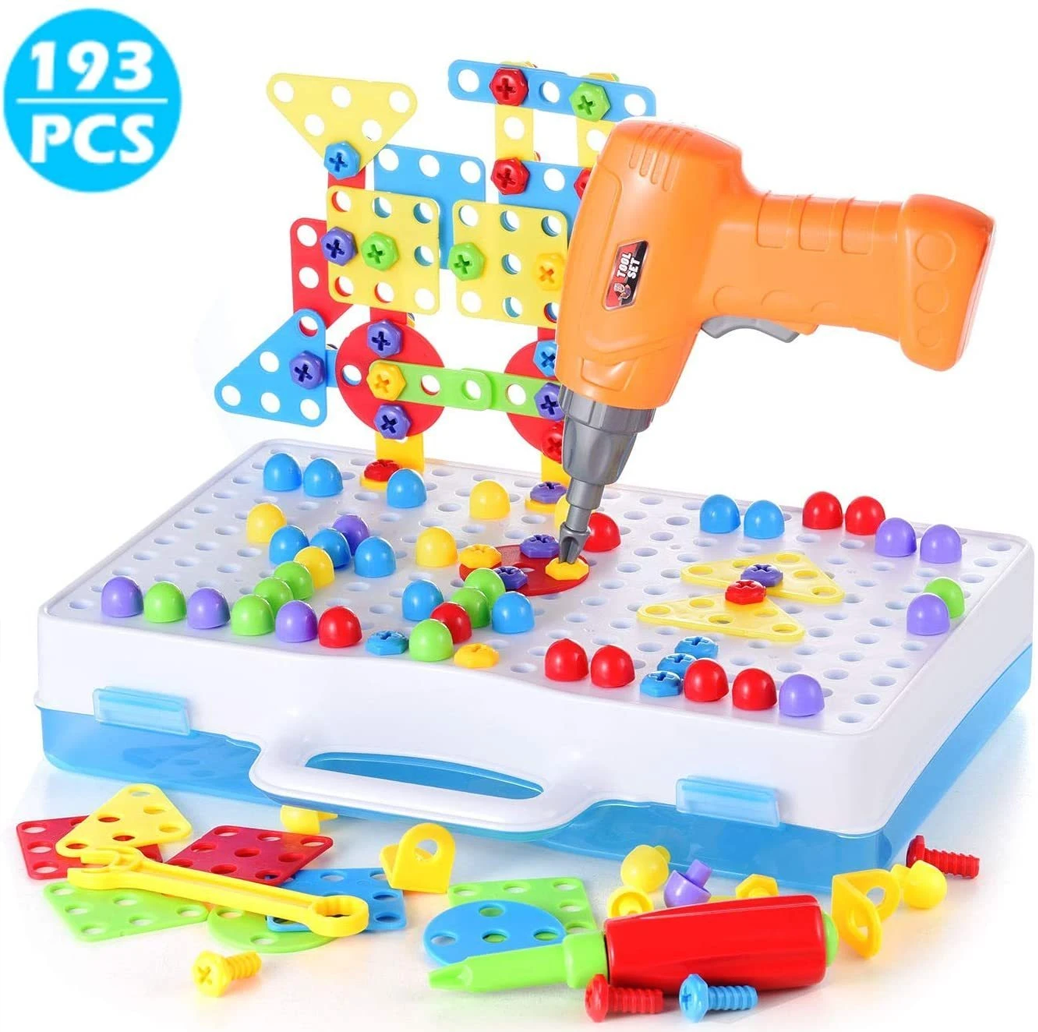 Blocks Game with Toy Drill & Screwdriver Tool Set