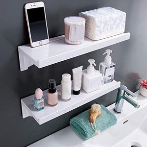 Bathroom Shelf Wall Mounted Punch Free Storage Rack (2PCS)