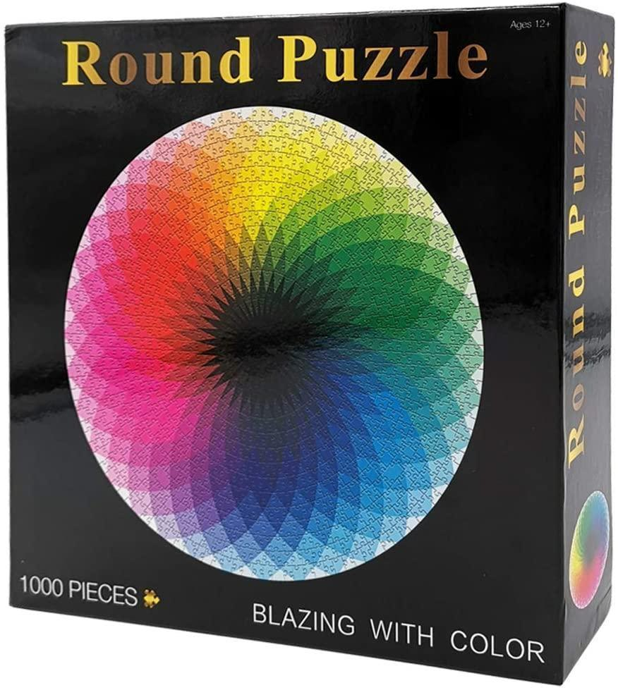 Large 1000-Piece Rainbow Round Puzzle for Kids & Adults