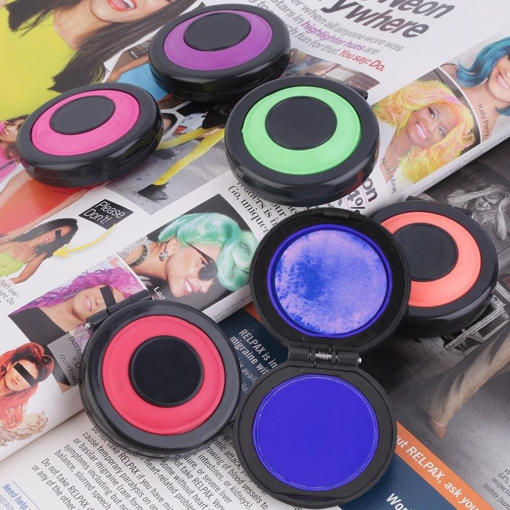 Hot 6pcs per set Temporary Hair Dye Powder Cake Hair Color Bun