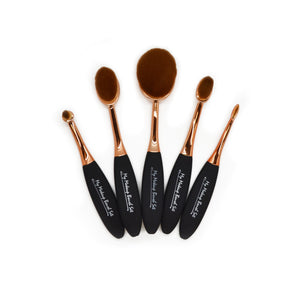 5 Piece Rose Gold Oval Brush Set