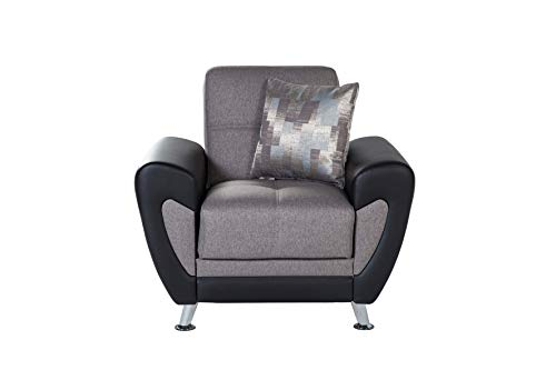Bellona Trendy Home Furniture Living Room Set DURU Collection (Plato Dark Grey, Chair)