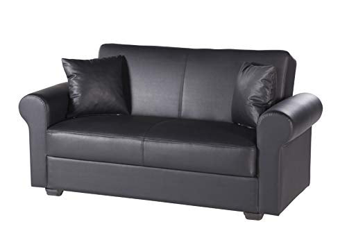 Istikbal Multifunctional Furniture Living Room Set Floris Collection (Glory Black, Love Seat)