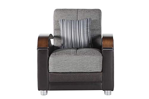Bellona Trendy Home Furniture Living Room Set Luna Collection (Fulya Grey, Chair)