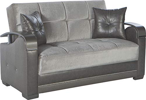 Bellona Trendy Home Furniture Living Room Set Luna Collection (Deha Silver, Love Seat)