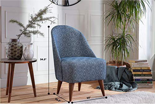 BELLONA Trendy Home Furniture Living Room Accent Chair BAKUBA Collection Midcentury Modern (Navy Diamond)