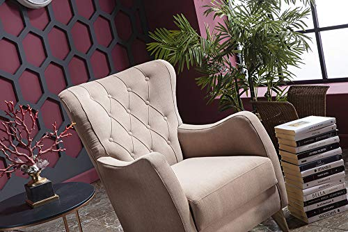 BELLONA Trendy Home Furniture Living Room Accent Chair VIENZA Collection (Beige)