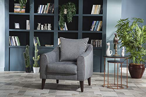 BELLONA Trendy Home Furniture Living Room Accent Chair Brookline Collection (Grey (327))