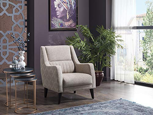 BELLONA Trendy Home Furniture Living Room Accent Chair Marcello Collection (Stone)