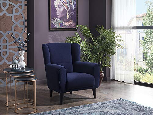 BELLONA Trendy Home Furniture Living Room Accent Chair Bolton Collection (Navy)