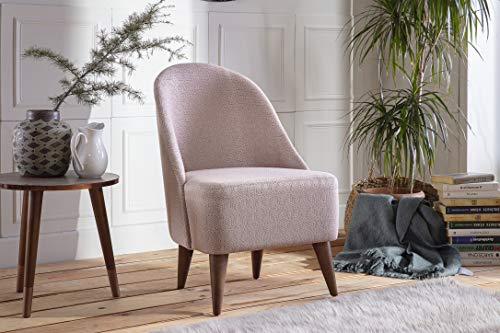 BELLONA Trendy Home Furniture Living Room Accent Chair BAKUBA Collection Midcentury Modern (Baby Pink)