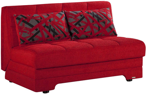 Convertible Sofa bed Trendy Home Furniture Living Room Love Seat Twist (Story Red)