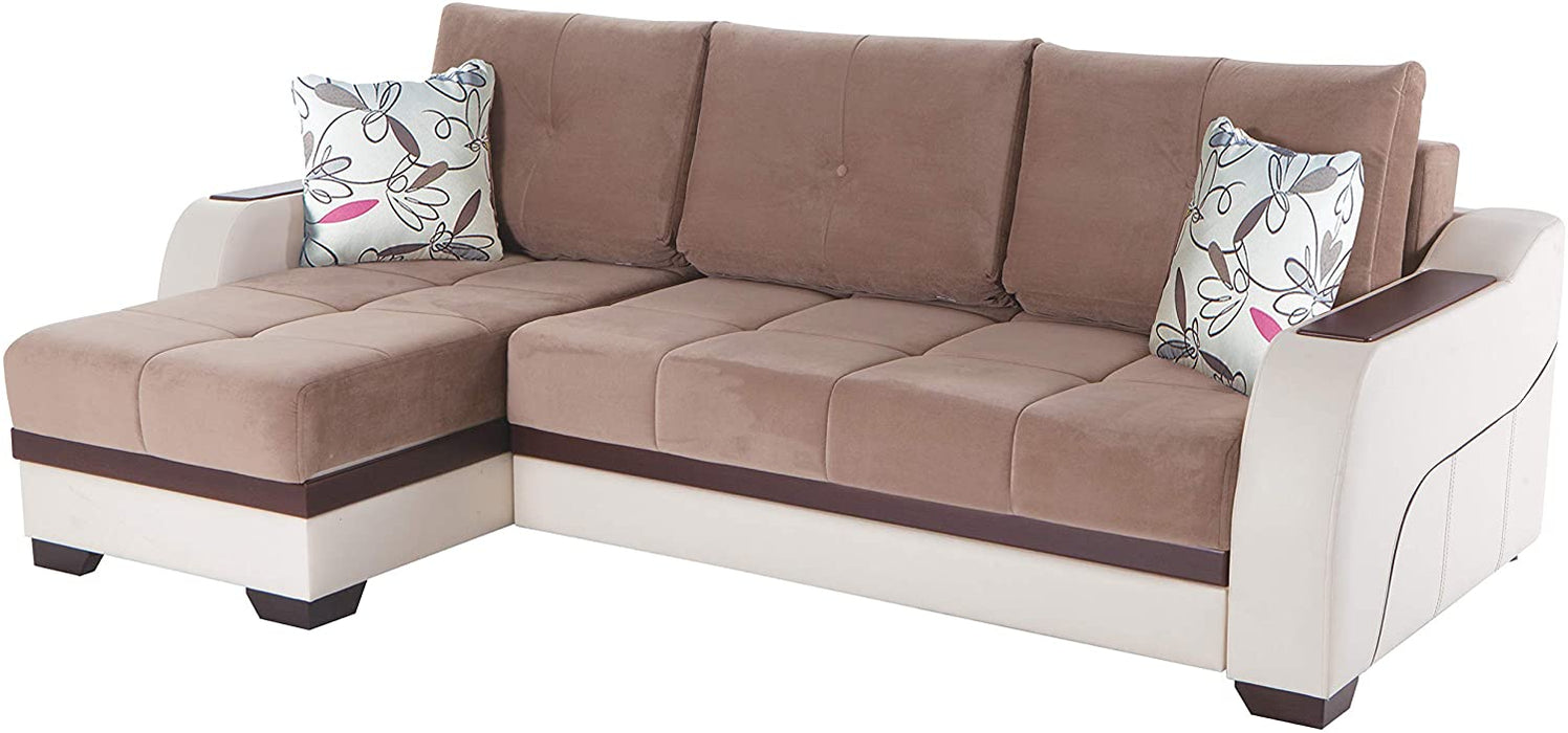 BELLONA Trendy Home Furniture Living Room Set Ultra Collection (Sectional, Optimum Brown)
