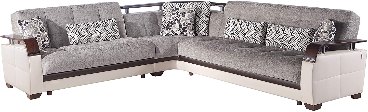 Istikbal Multifunctional Furniture Living Room Set Natural Collection (Valencia Grey, Sectional)