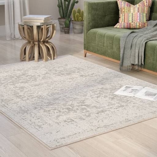 "Hillsby Oriental Charcoal/Light Gray/Beige Area Rug (Rectangle 5'3"" x 7'3"")."