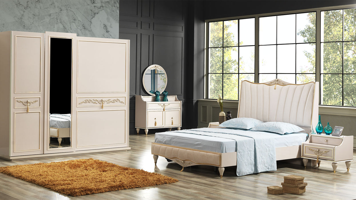 BIANCO 5 PIECE BEDROOM SET WARDROBE,QUEEN BED,HEADBOARD,NIGHTSTAND AND DRESSER WITH MIRROR.