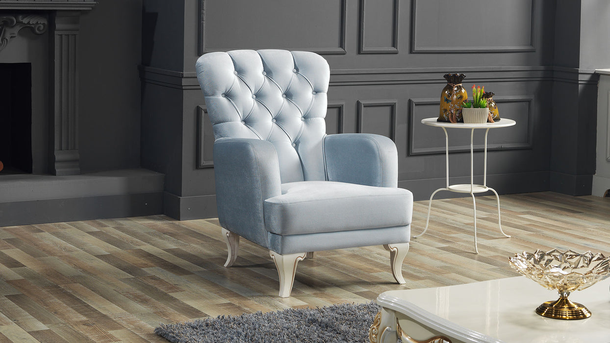Elsa Ice Blue 3 Piece Living Room Set.
