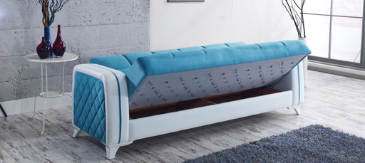 Elmira Convertible Sleeper Sofa, Blue/White