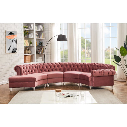 "Mousseau 138.6"" Velvet Symmetrical Modular Sectional."