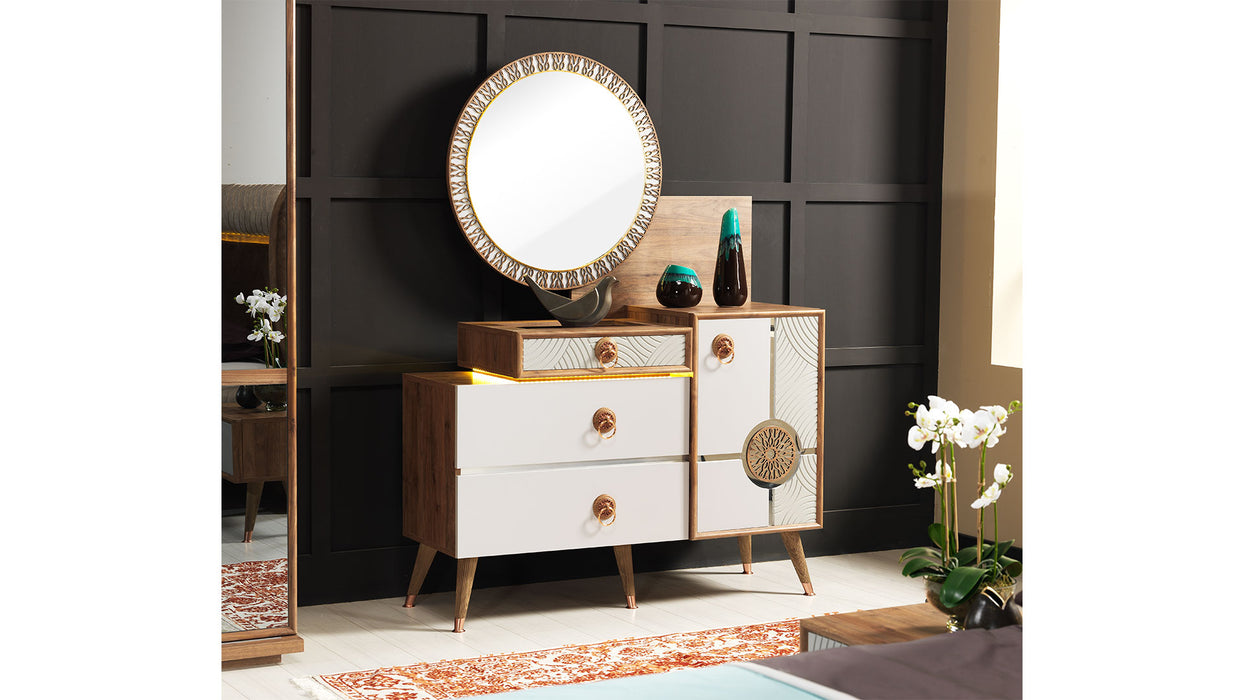 SELENGE 5 PIECE MODERN BEDROOM SET WARDROBE,STORAGE BED,HEADBOARD,NIGHTSTAND AND DRESSER WITH MIRROR.