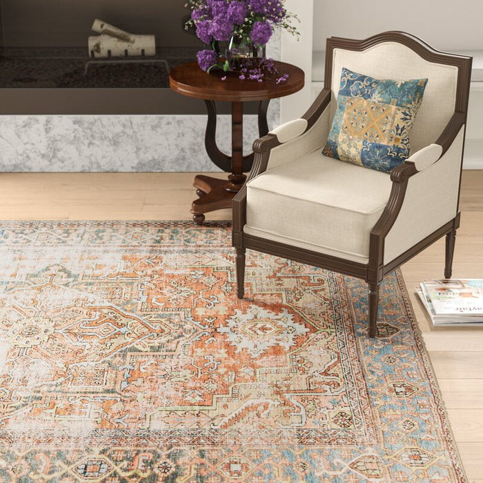 "Skye Oriental Terracotta Area Rug (Rectangle 5' x 7'6"")."