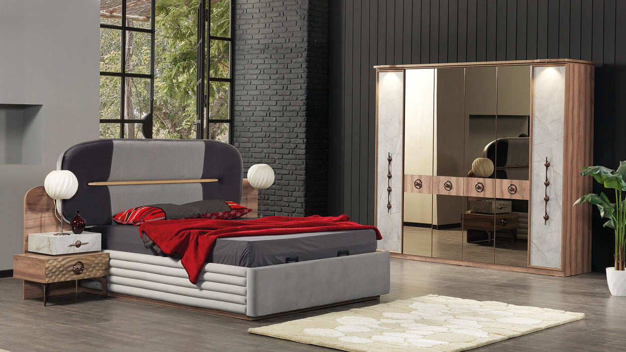 Istanbul 5 Piece Bedroom Set With Wardrobe,Storage Bed,Headboard,Nightstand,Dresser and Mirror