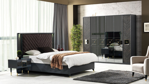 Lotus Carbon Bedroom Set with Wardrobe, Bed, and Nightstand.