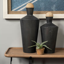 Load image into Gallery viewer, Royce Set of Two Black Metal Urns