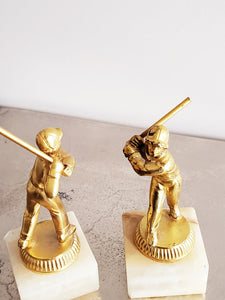 Vintage Baseball Brass Statues with Alabaster base