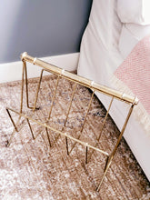 Load image into Gallery viewer, Vintage Faux Bamboo Brass Magazine Rack