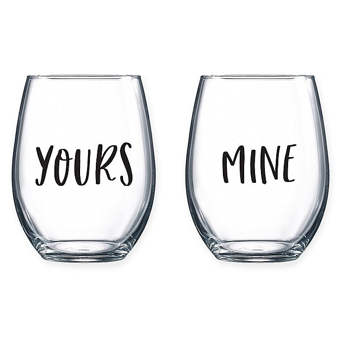 Yours/Mine Stemless Wine Glasses