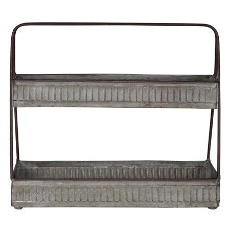 Metal 2 Tier Silver Tray