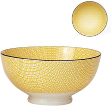 "Load image into Gallery viewer, KIRI PORCELAIN 56 oz 8"" DIAMETER BOWL – YELLOW WITH BLACK TRIM"
