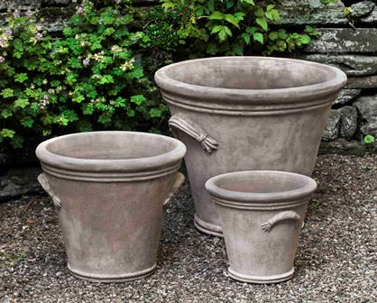 Fluted Handle Planter-Antico Terra Cotta-S/3