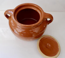 Load image into Gallery viewer, Vintage Medalta Pottery Bean Pot with Lid, Circa 1930  #2 - Cinnamon Brown