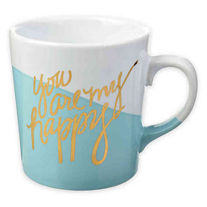 """You Are My Happy"" Color Dip Mug in Blue/White"