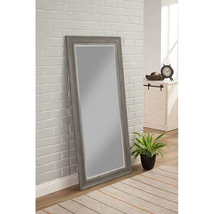 Hanging Wall Mirror - Rustic Grey Frame with Pewter Finish