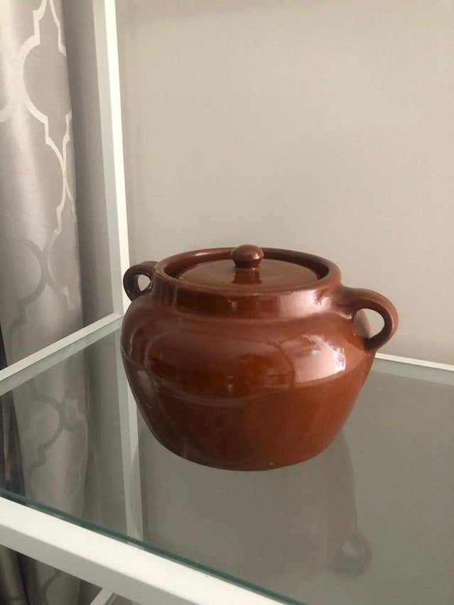 Vintage Medalta Pottery Bean Pot with Lid, Circa 1930  #1 - Brown