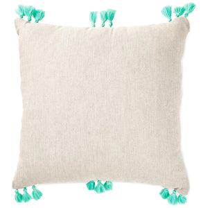 Watercolor Teal and Pink Embroidered Throw Pillow