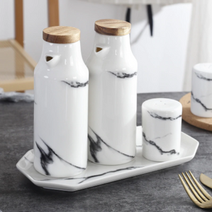 Zania Ceramic Salt & Pepper and Condiment Bottle Set