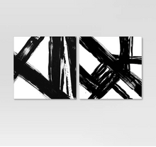 Load image into Gallery viewer, Abstract Black and White Embellished Canvas (set of 2)