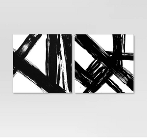 Abstract Black and White Embellished Canvas (set of 2)
