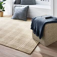 Load image into Gallery viewer, Hand Woven Plaid Wool/Cotton Area Rug Neutral