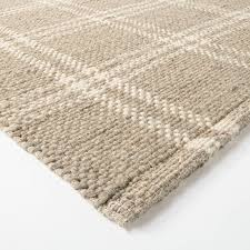 Hand Woven Plaid Wool/Cotton Area Rug Neutral