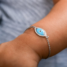 Load image into Gallery viewer, Baby Marquise Turquoise Evil Eye Diamond Chain Bracelet
